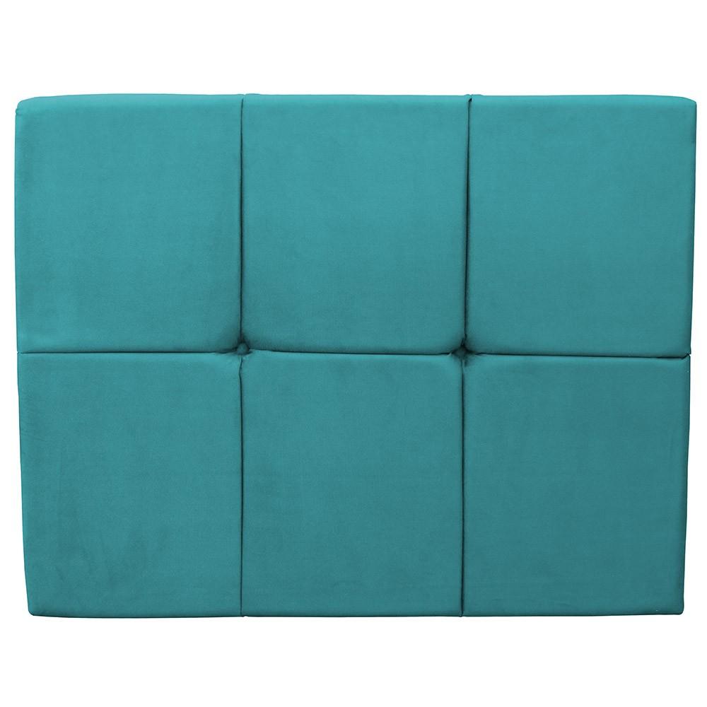 Cabeceira Painel Nina para Cama Box Solteiro 1,00 m Estofada Suede Azul Tiffany