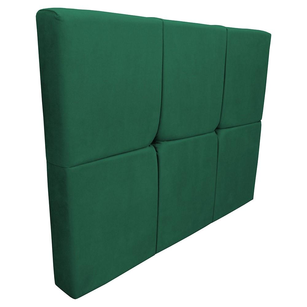 Cabeceira Painel Nina para Cama Box Solteiro 1,00 m Estofada Suede Verde Bandeira