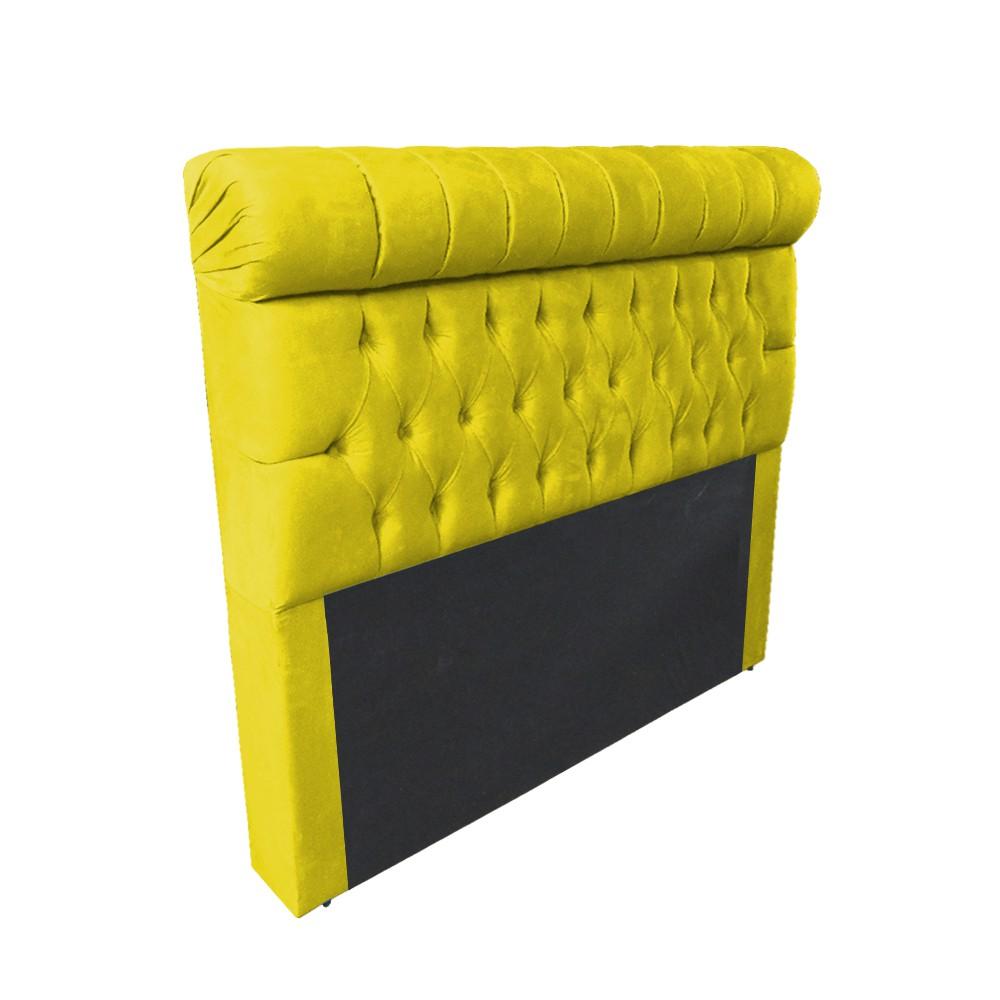Cabeceira Glamour para Cama Box Casal 1,40 m Estofada Suede Amarelo