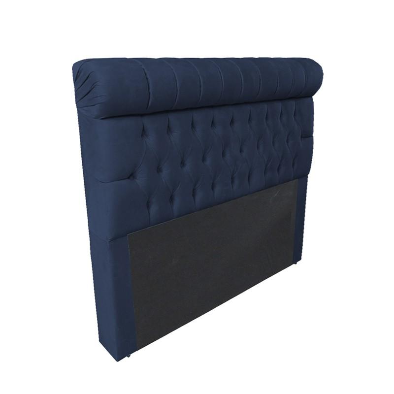 Cabeceira Glamour para Cama Box Casal 1,40 m Estofada Suede Azul Marinho