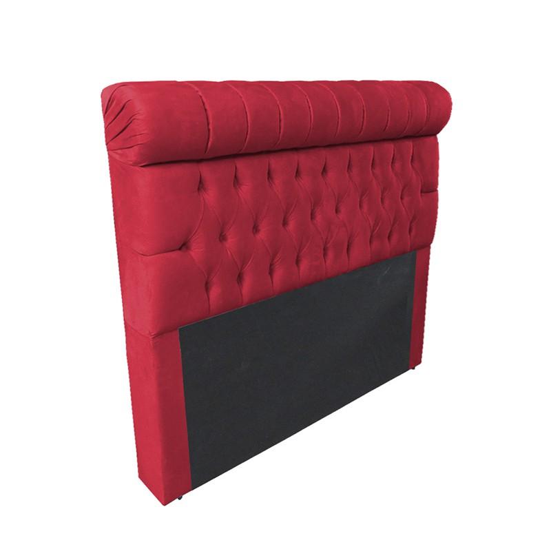 Cabeceira Glamour para Cama Box Casal 1,40 m Estofada Suede Vermelho