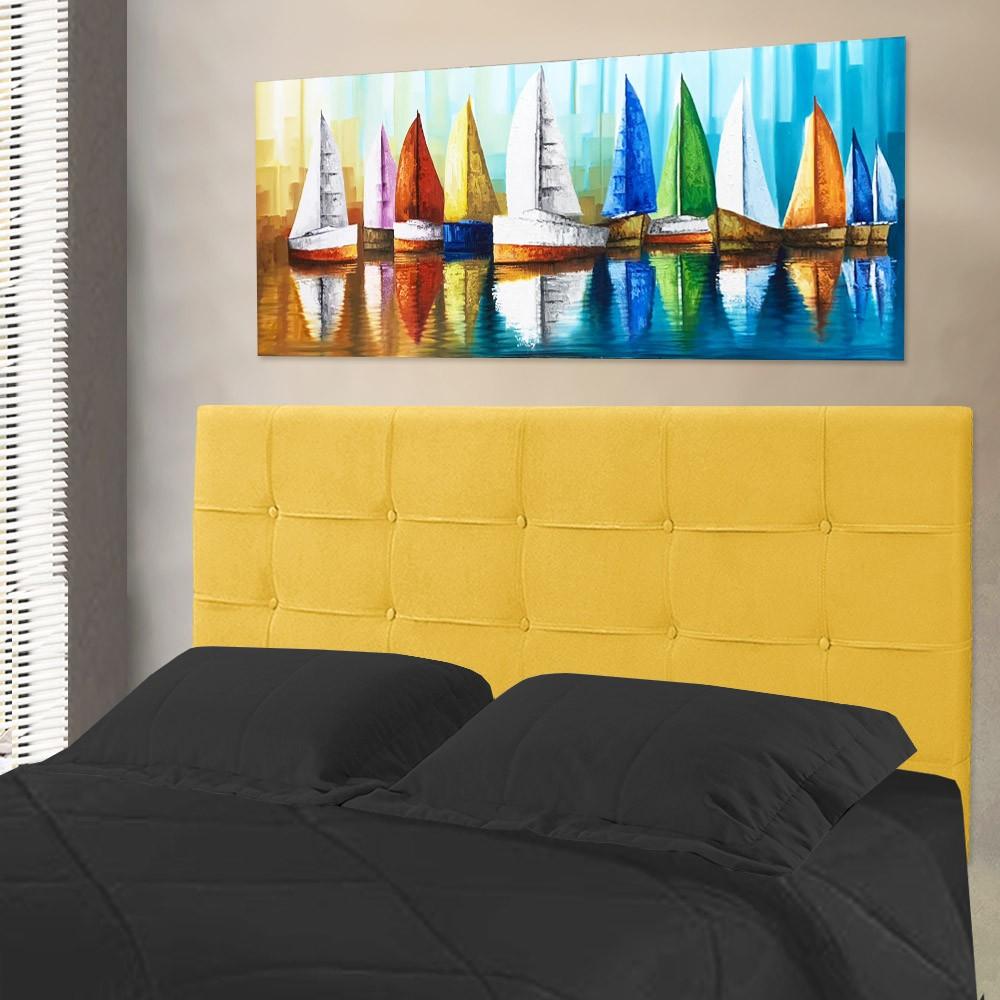 Cabeceira para Cama Box Slim Casal 1,40 m Estofada Suede Amarelo