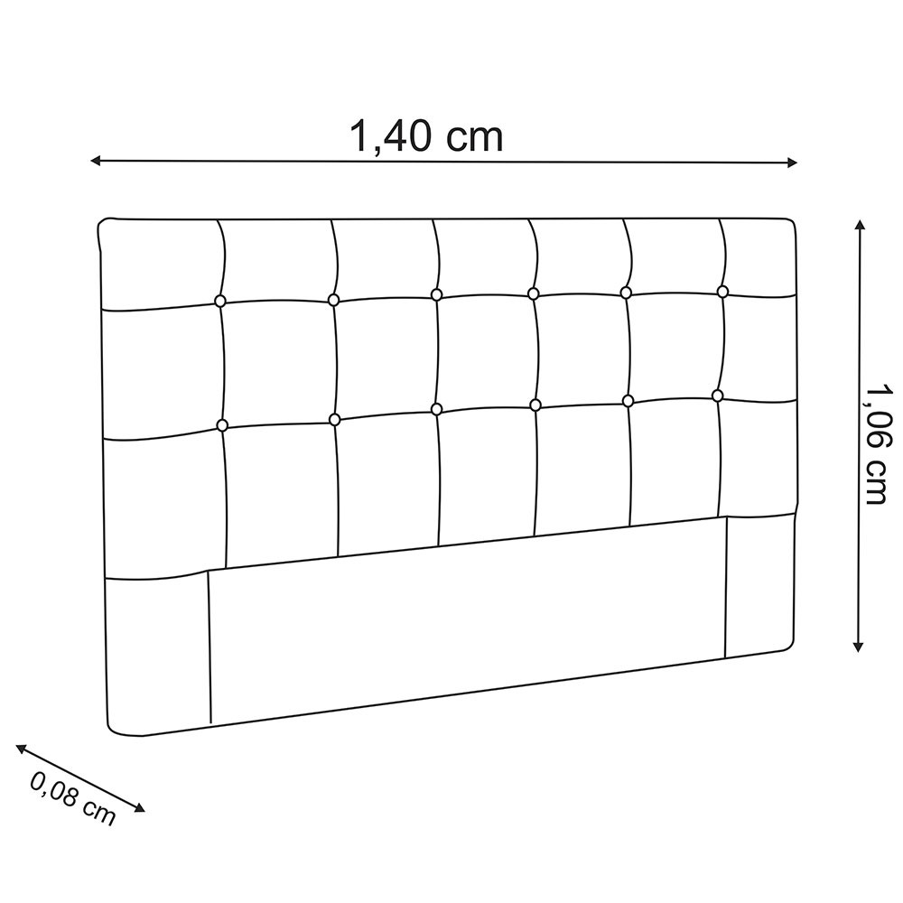 Cabeceira para Cama Box Slim Casal 1,40 m Estofada Suede Crepe