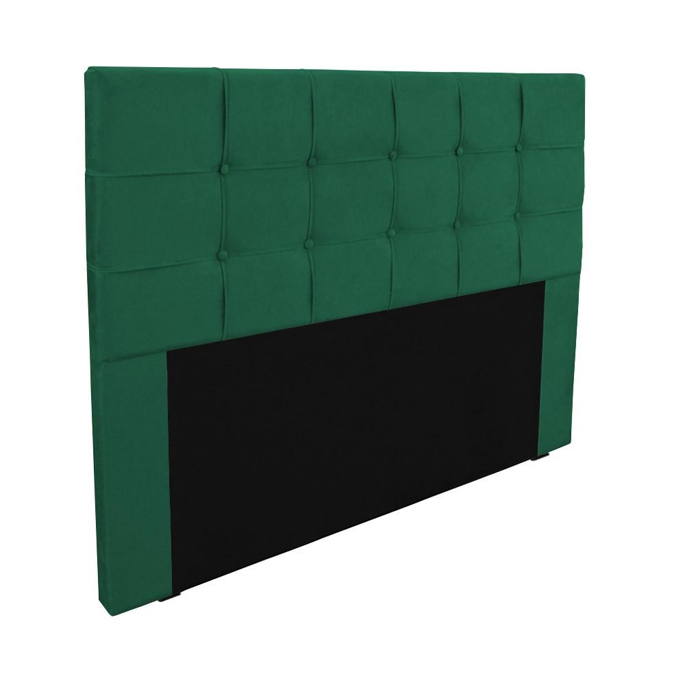 Cabeceira para Cama Box Slim Casal 1,40 m Estofada Suede Verde Bandeira