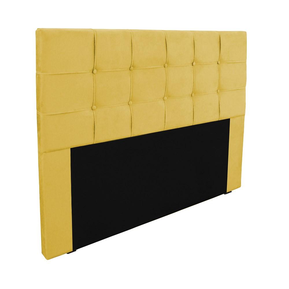 Cabeceira para Cama Box Slim Queen 1,60 m Estofada Suede Amarelo