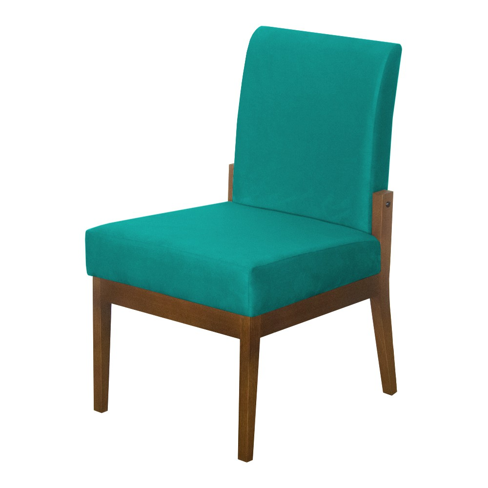 Cadeira de Jantar Helena Suede Azul Tiffany - Decorar Estofados