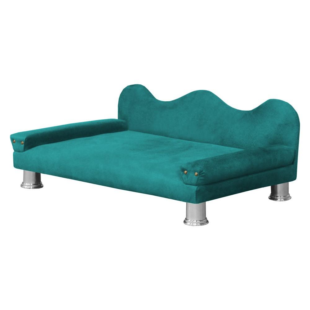 Cama Sofá Pet Meg Para Cães E Gatos Elegante e confortável Suede Azul Tiffany