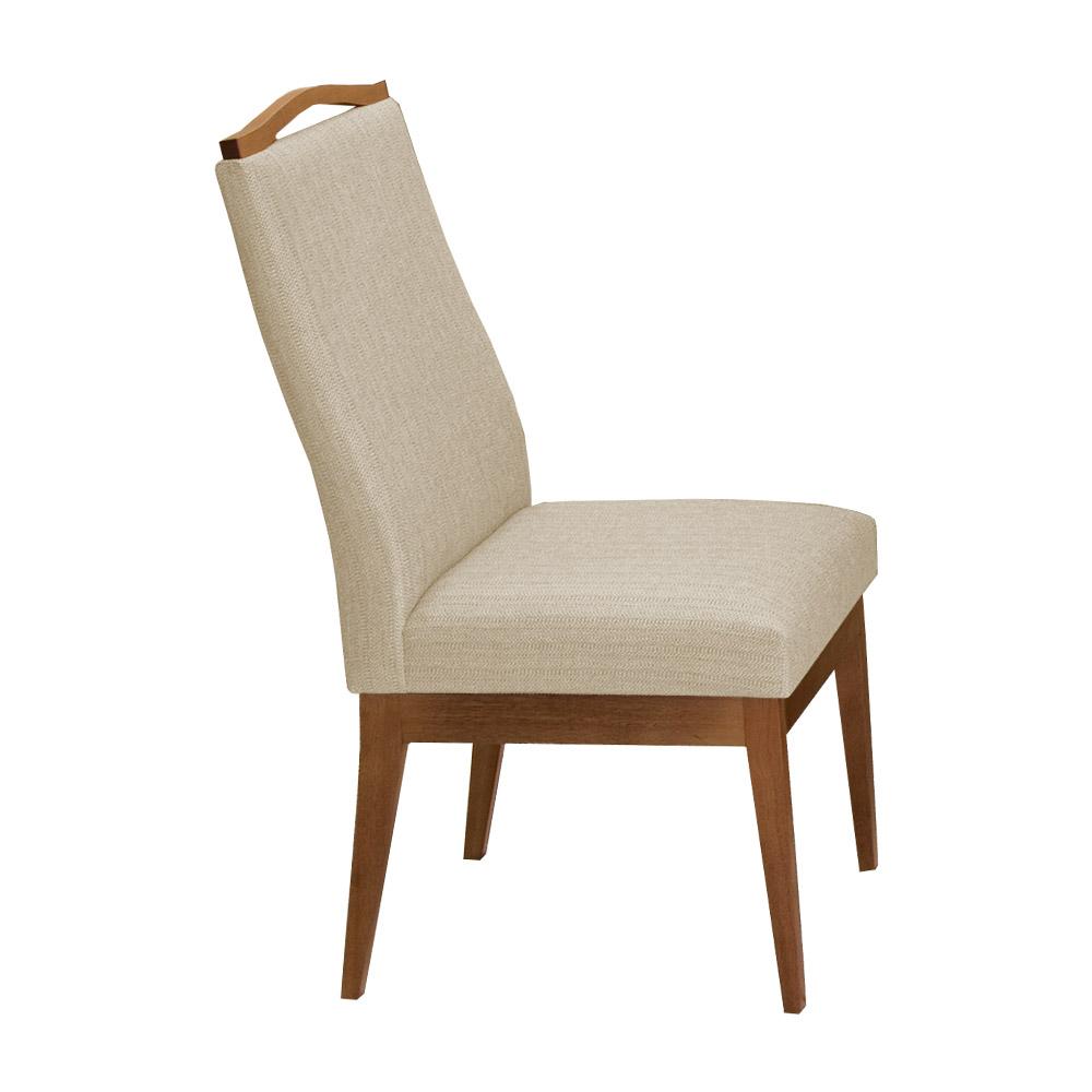 Conjunto 2 Mesa Luiza Off White 1,35 m + Aparador Luiza + Cadeiras Lara Linho/Poliéster Bege 10 Lugares