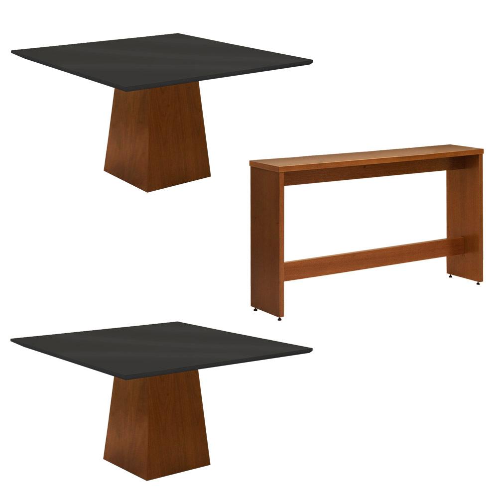 Conjunto 2 Mesa Luiza Preto 1,35 m + Aparador Luiza + Cadeiras Lara Linho/Poliéster Marrom 10 Lugares