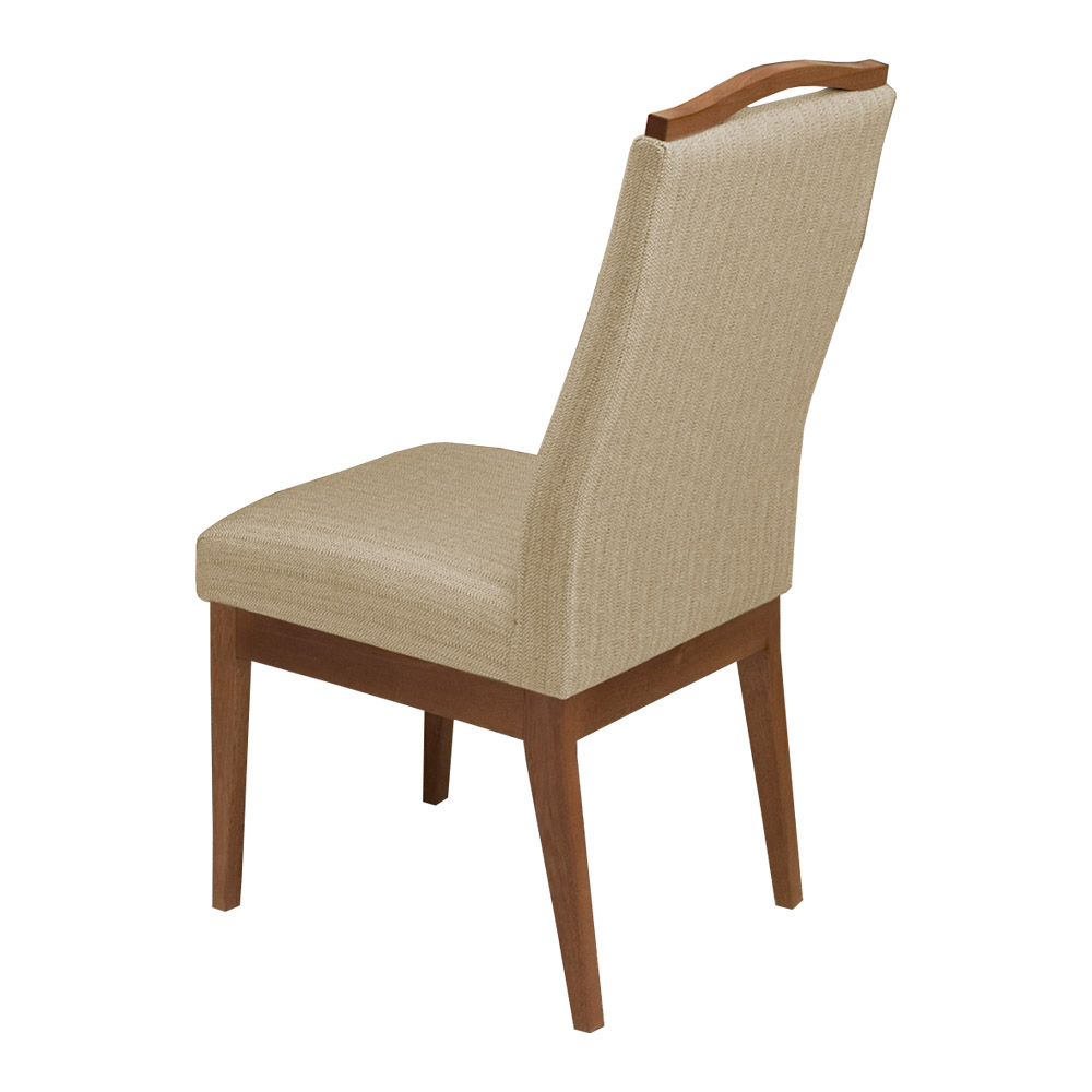Conjunto 2 Mesa Luiza Preto 1,35 m + Aparador Luiza + Cadeiras Lara Linho/Poliéster Nude 10 Lugares