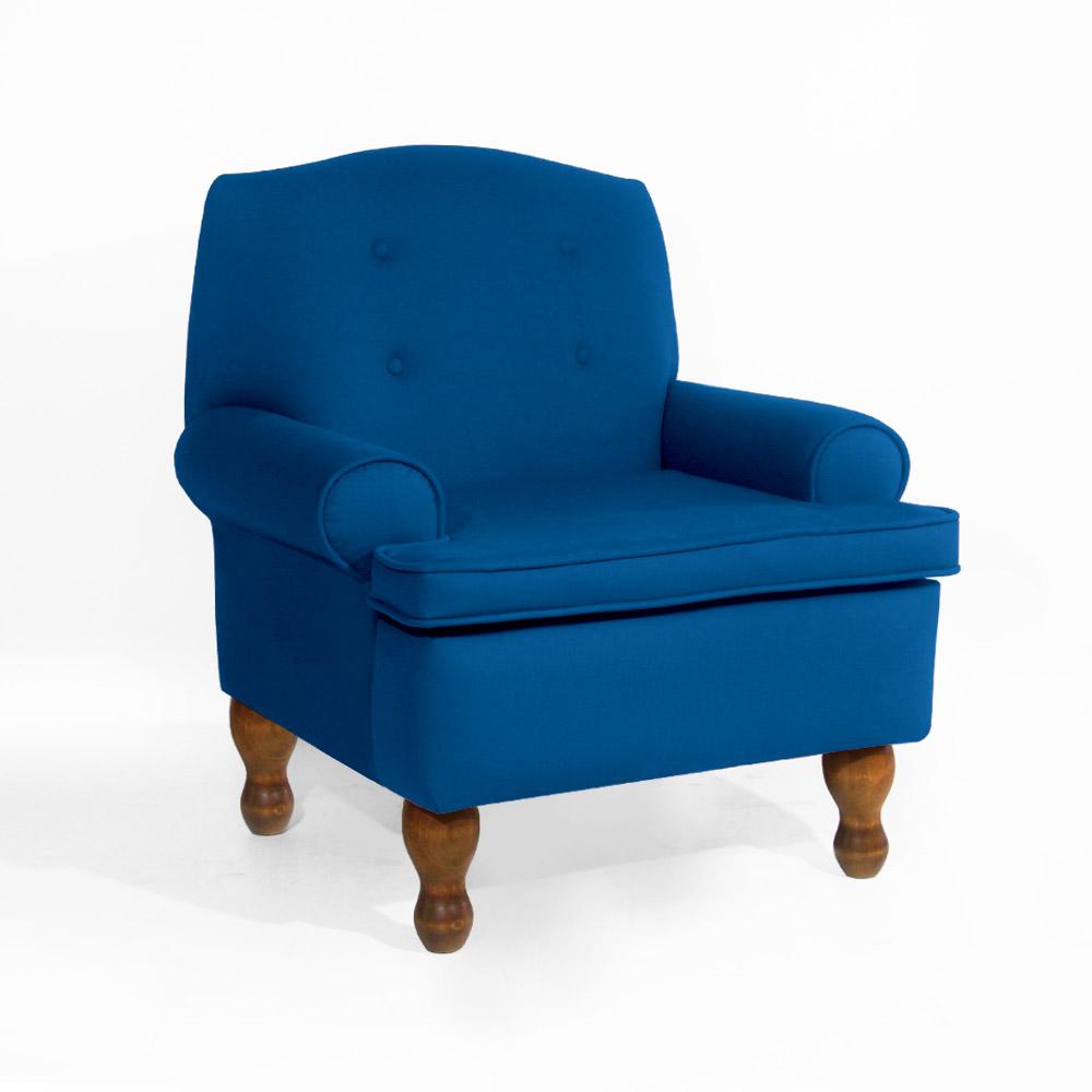 Conjunto 2 Poltrona Vovó Lucy + Puff Ana Suede Azul Royal