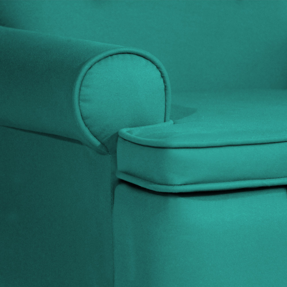 Conjunto 2 Poltrona Vovó Lucy + Puff Ana Suede Azul Tiffany