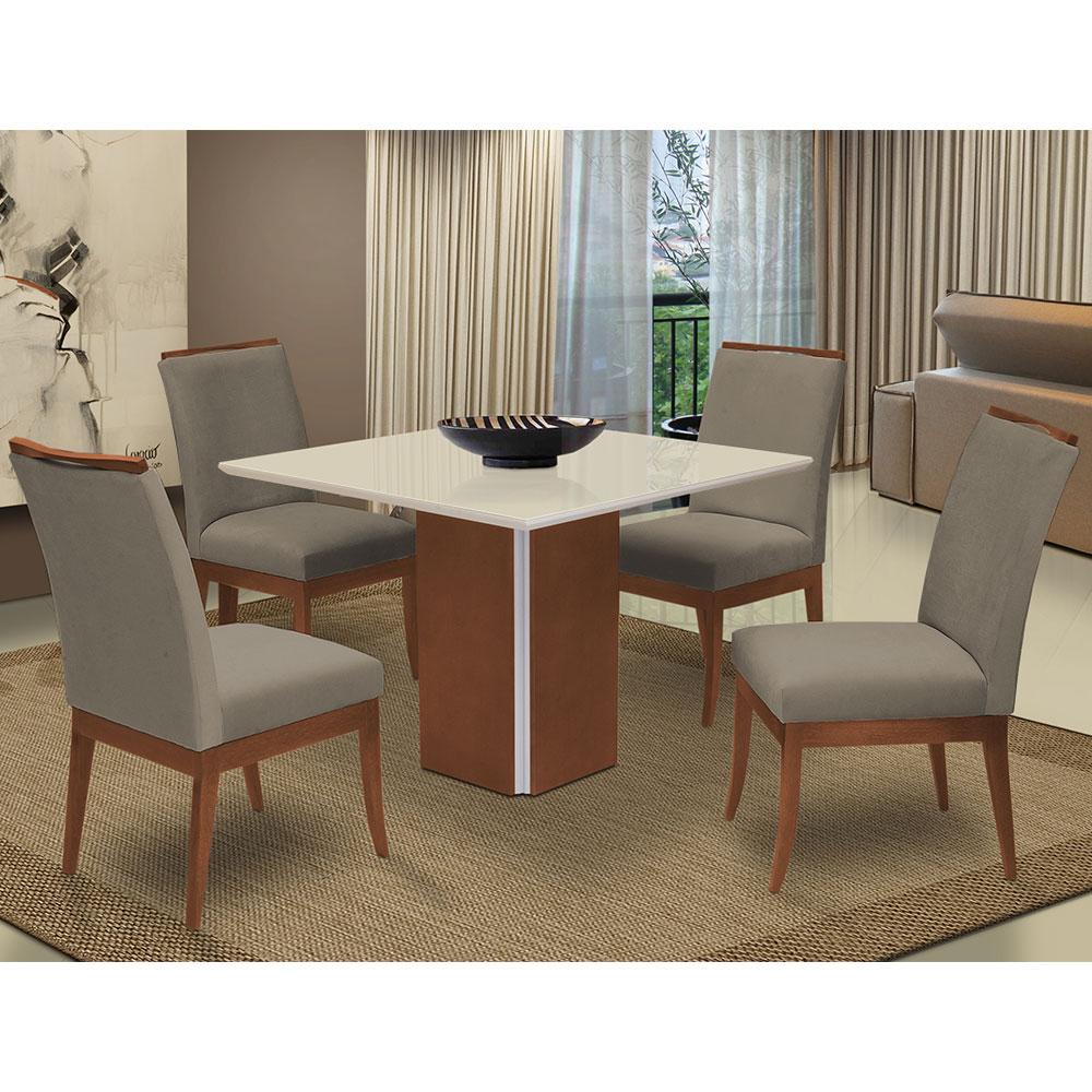 Conjunto Mesa Jade 1,04 m Off White + 4 Cadeiras Lana Aveludado Cappuccino