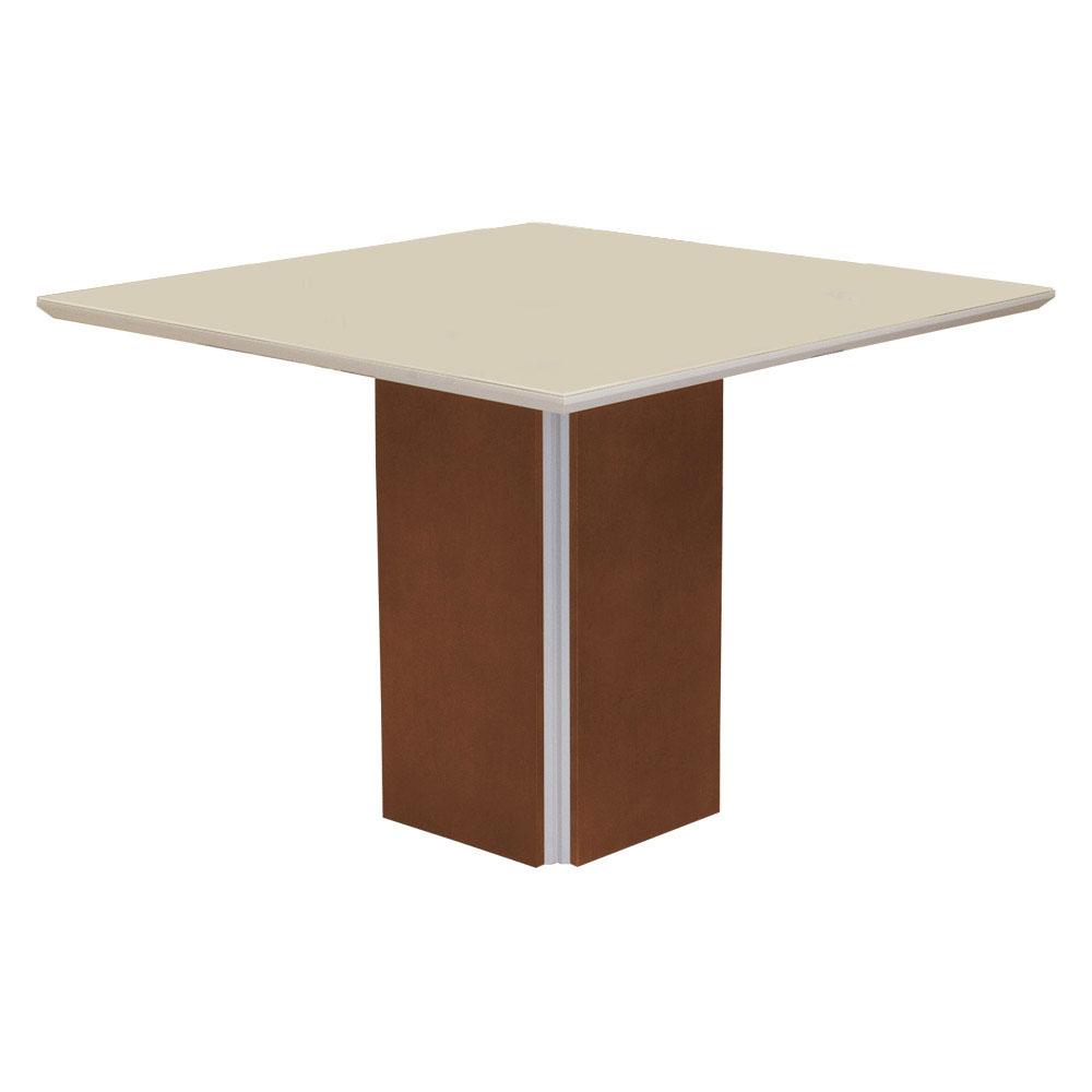Conjunto Mesa Jade 1,04 m Off White + 4 Cadeiras Lana Veludo Cappuccino