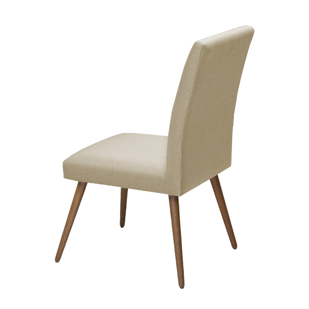 Conjunto Mesa Karina 1,35 m Off White + 4 Cadeiras Lais Linho/Poliester Bege