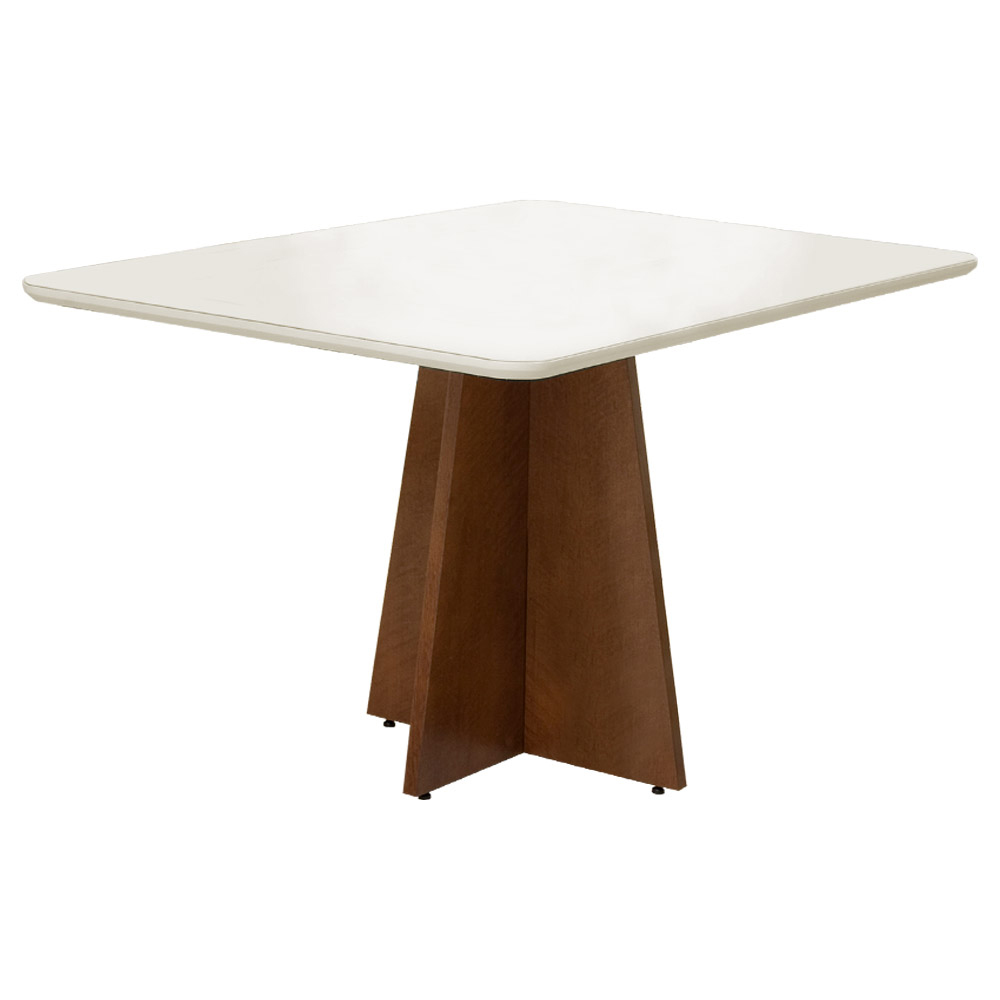 Conjunto Mesa Karina 1,35 m Off White + 4 Cadeiras Lais Linho/Poliester Nude