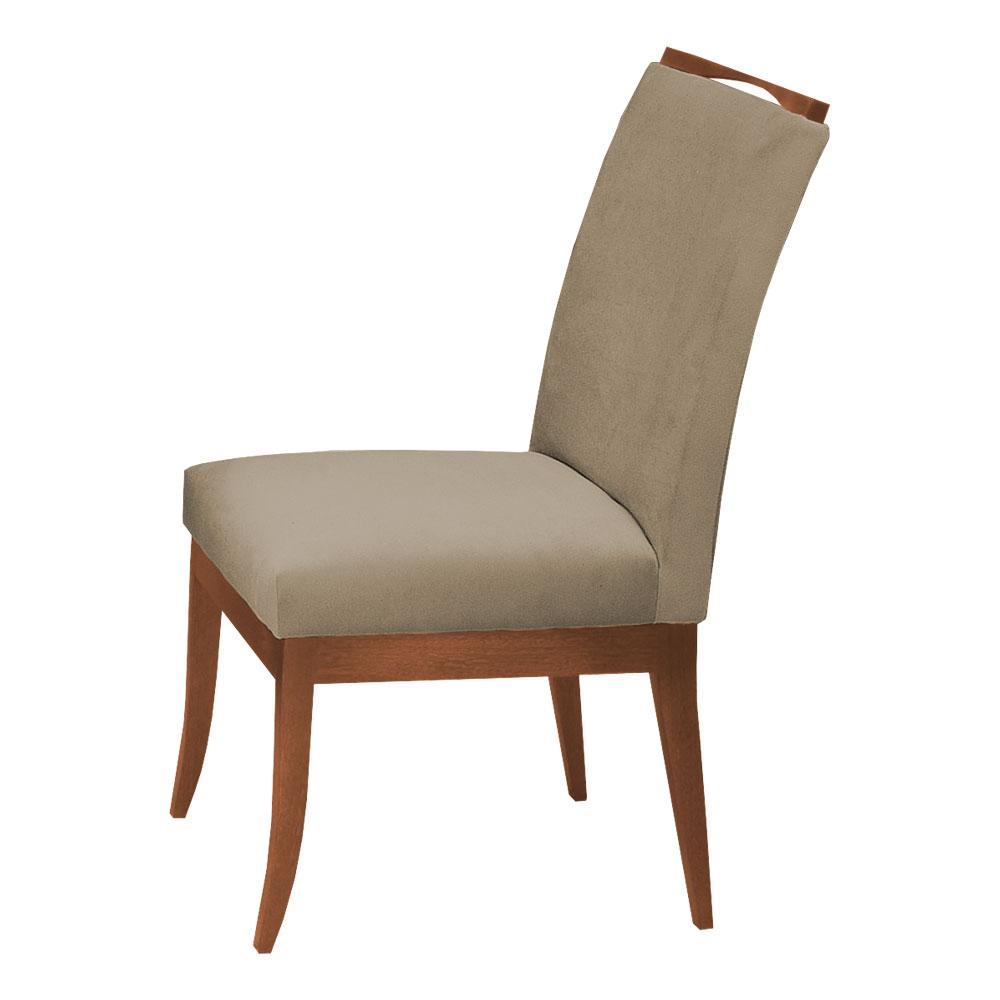 Conjunto Mesa Larissa 1,04 m Off White + 4 Cadeiras Lana Veludo Cappuccino