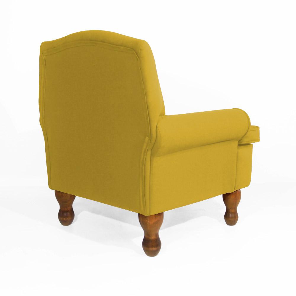 Conjunto Poltrona Vovó Lucy Decorativa + Puff Ana Suede Amarelo