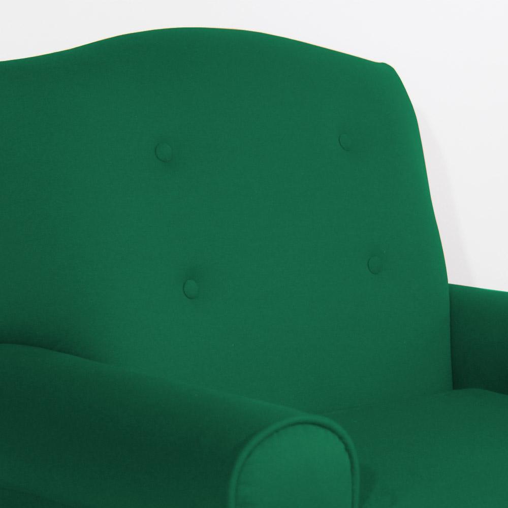 Conjunto Poltrona Vovó Lucy Decorativa + Puff Ana Suede Verde Bandeira