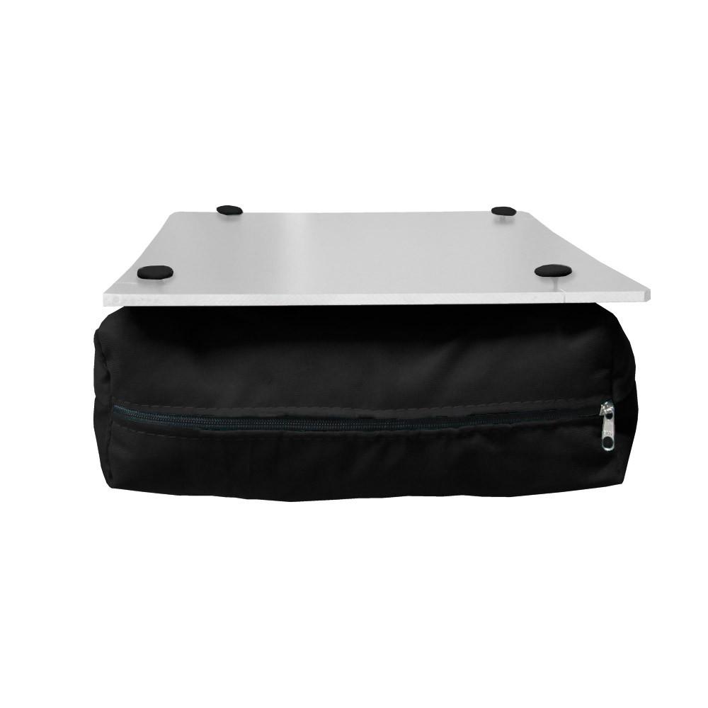 Almofada Apoio Para Notebook Superfície em Madeira Almofada Macia Tecido Suede Preto