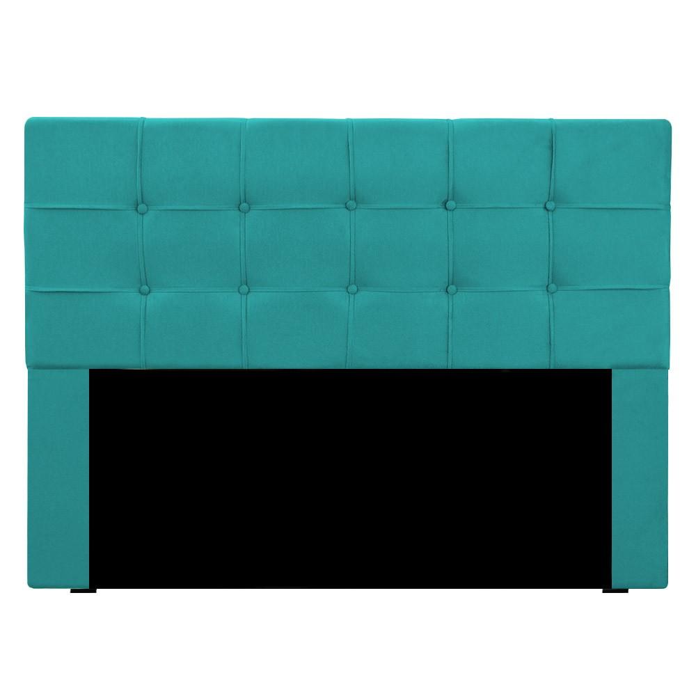 Cabeceira para Cama Box Slim Queen 1,60 m Estofada Suede Azul Tiffany