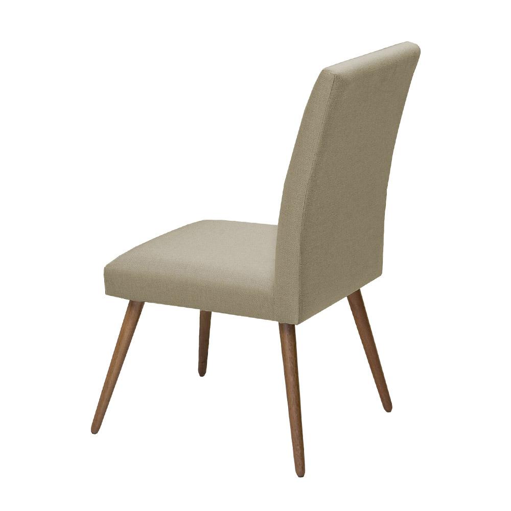 Conjunto Mesa Karina 1,35 m Preto + 4 Cadeiras Lais Linho/Poliester Nude