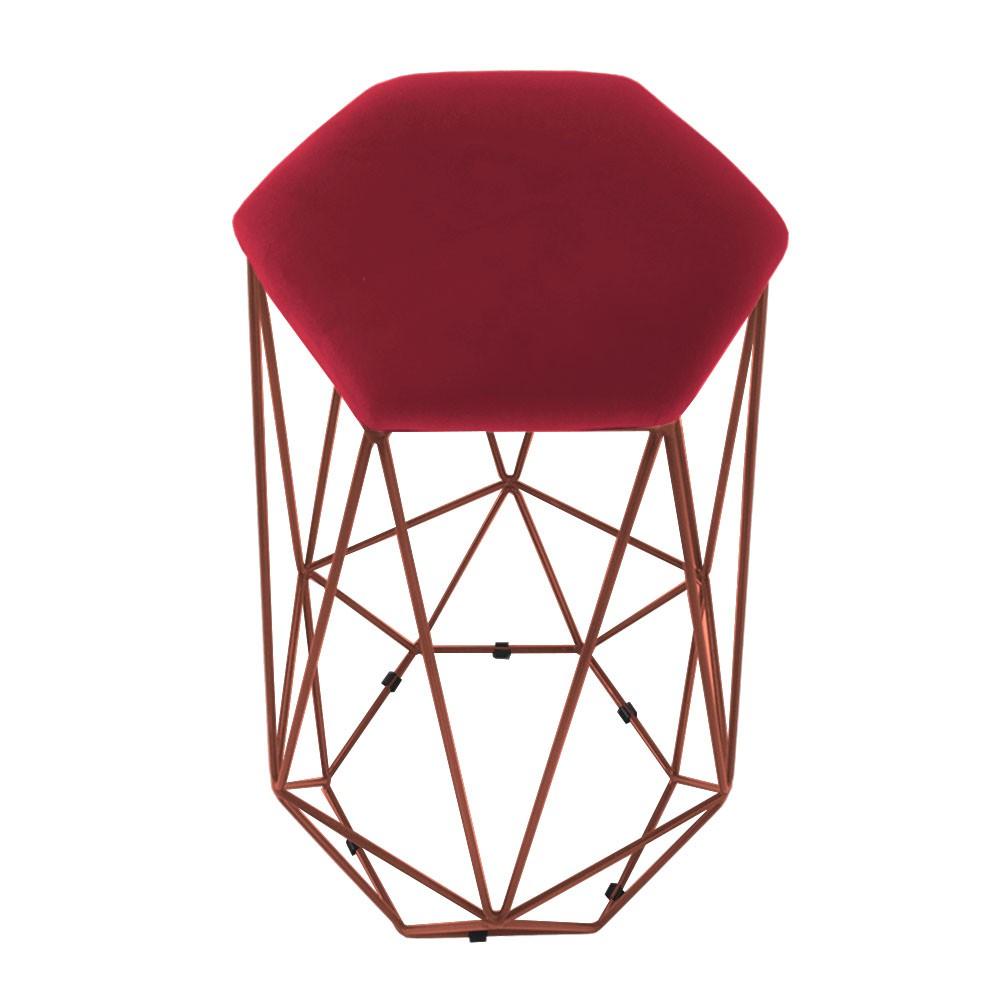 Kit 2 Banquetas Aramado Eiffel Hexágono Bronze Assento  Suede Vermelho