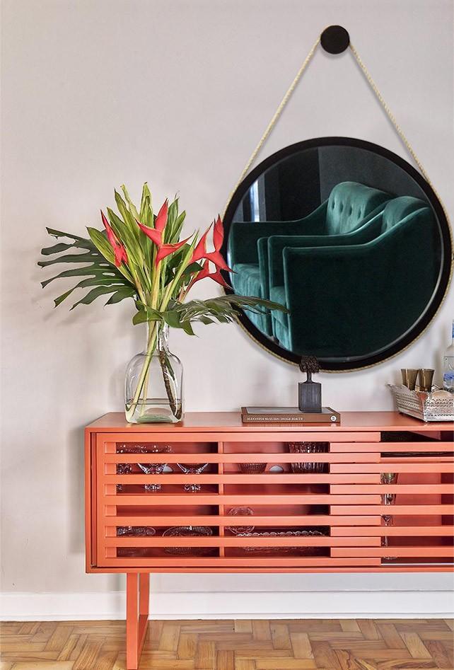 Espelho Redondo Decorativo Preto 67 cm Modelo Adnet Sisal Escandinavo