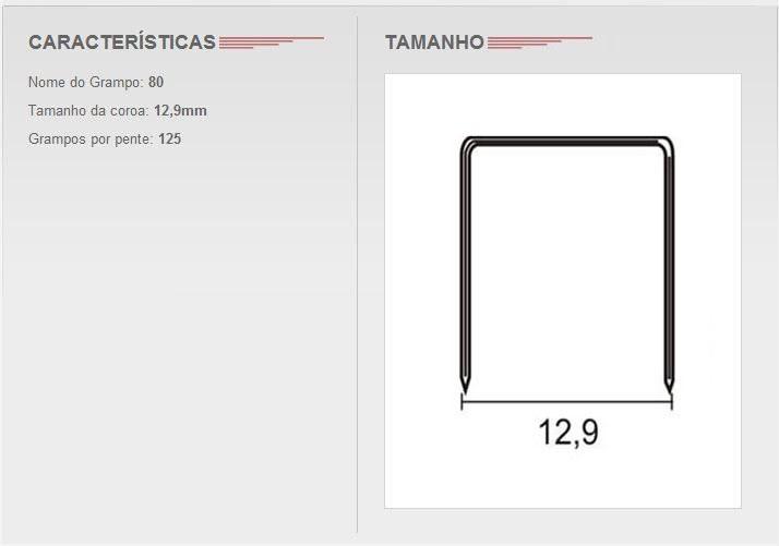 Grampo 80/08 Para Grampeador Pneumático Com 418 pentes contendo 52.250 grampos