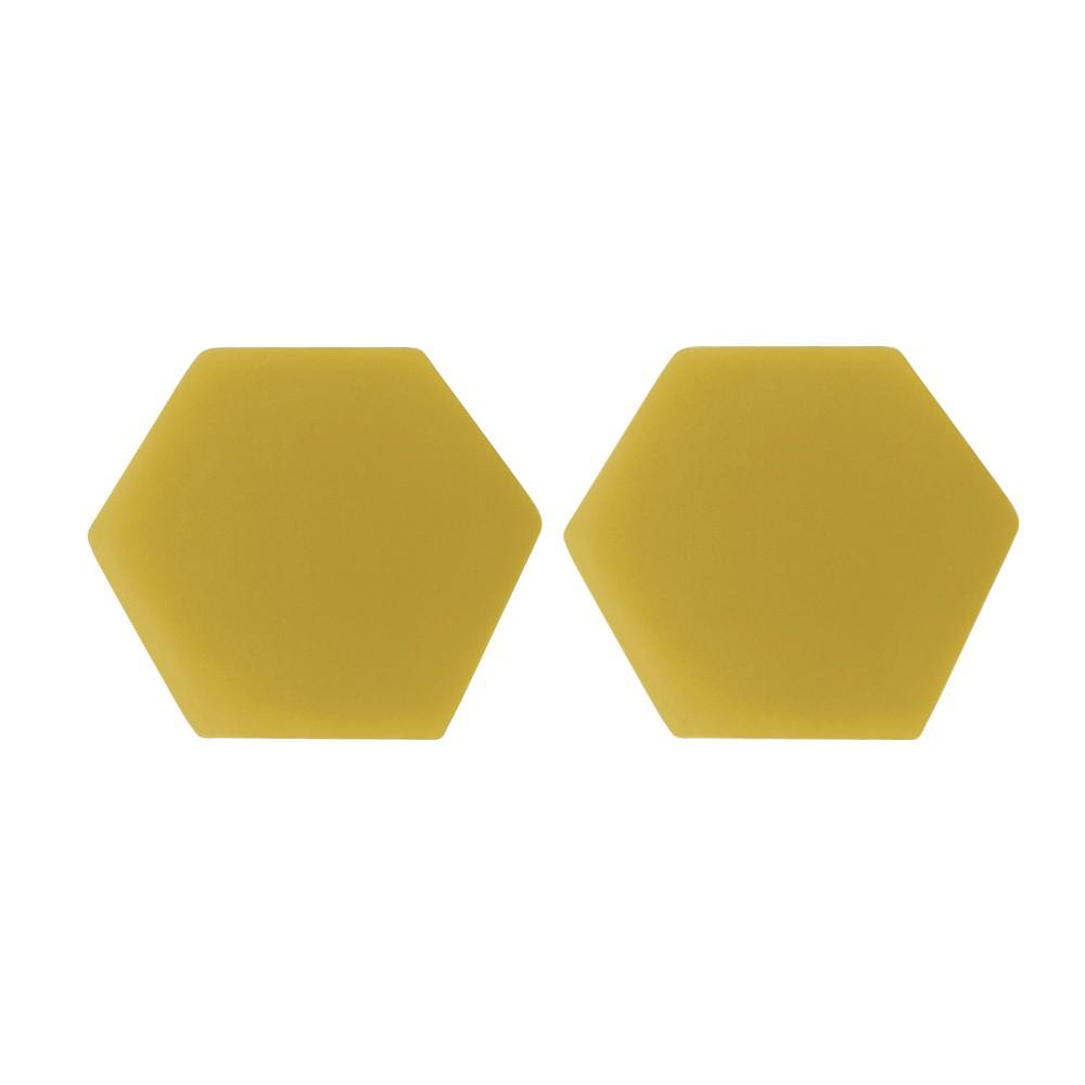 Kit 02 Puffs Decorativo Aramado Preto Mia Suede Amarelo