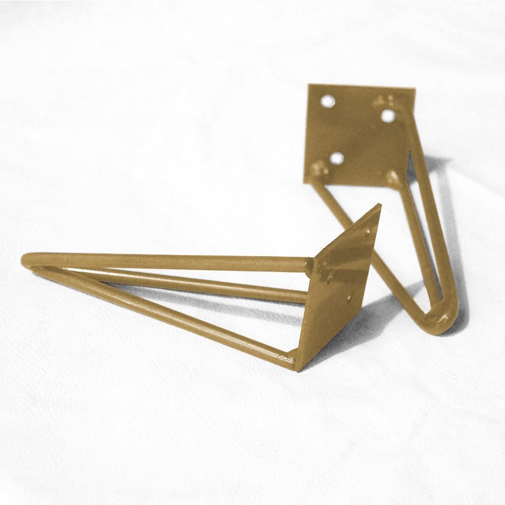 Kit 03 Pés Hairpin Legs 15 cm Dourado De Ferro Para Banquetas, Puffs, móveis