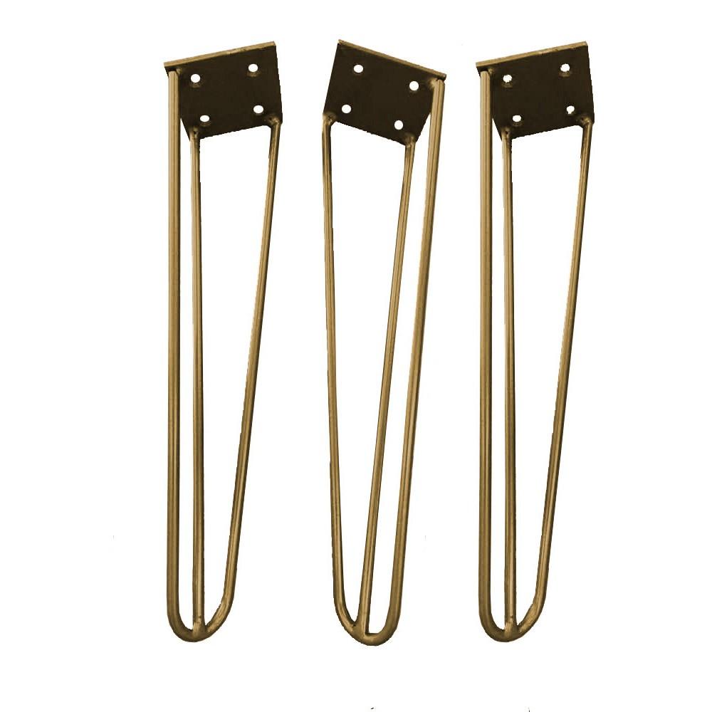 Kit 03 Pés Hairpin Legs 20 cm Dourado De Ferro Para Banquetas, Puffs, móveis