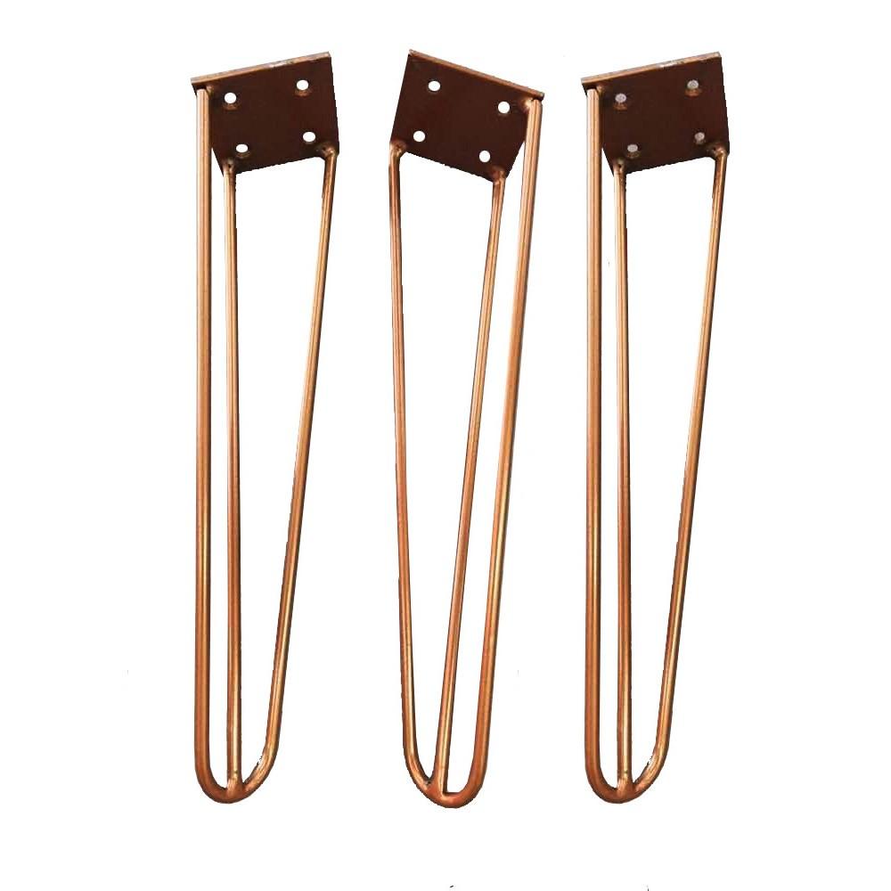 Kit 03 Pés Hairpin Legs 30 cm Bronze De Ferro Para Banquetas, Puffs, móveis
