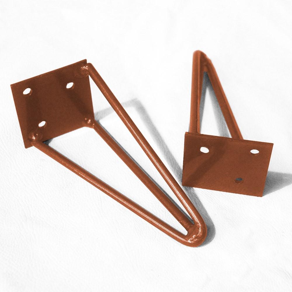 Kit 03 Pés Hairpin Legs 50 cm Bronze De Ferro Para Banquetas, Puffs, móveis