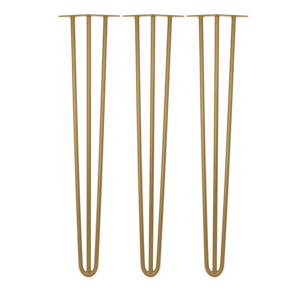 Kit 03 Pés Hairpin Legs 60 cm Dourado De Ferro Para Banquetas, Puffs, móveis