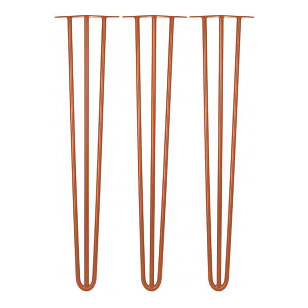 Kit 03 Pés Hairpin Legs 72 cm Bronze De Ferro Para Banquetas, Puffs, móveis