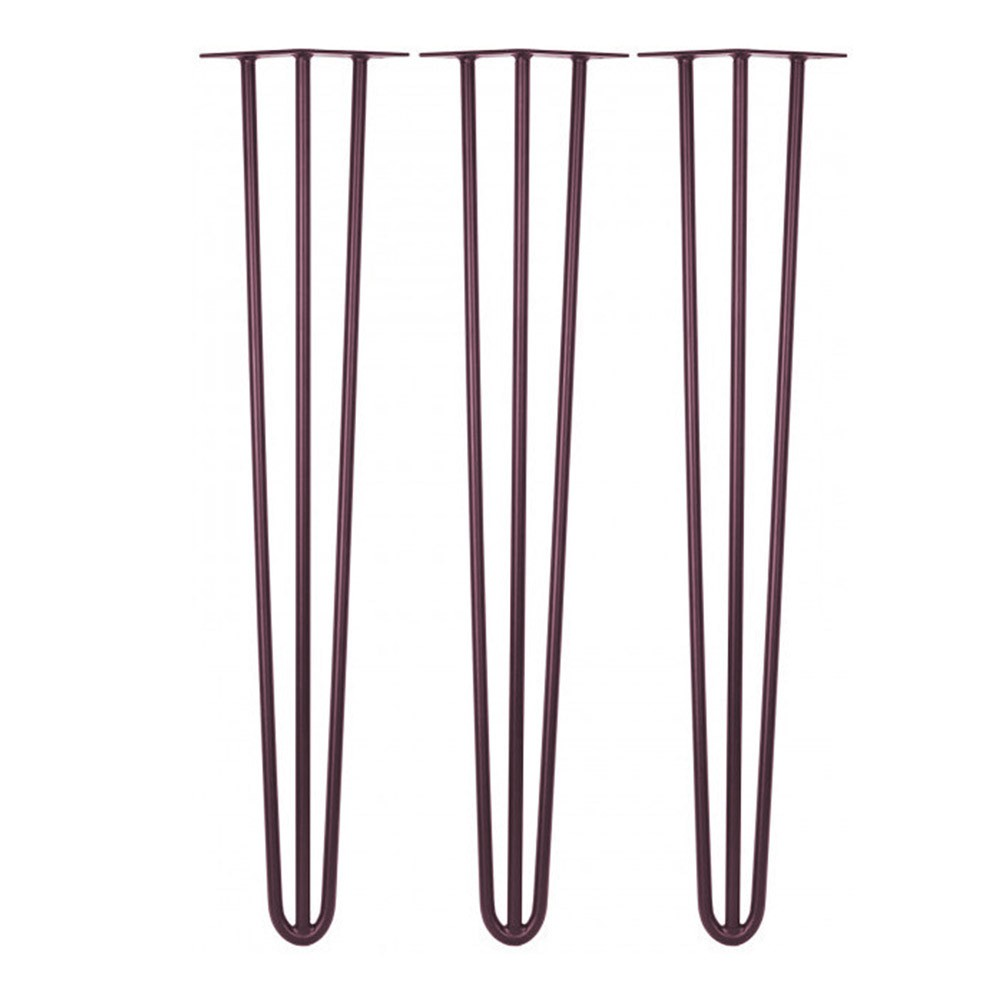 Kit 03 Pés Hairpin Legs 72 cm Açaí Metálico De Ferro Para Banquetas, Puffs, móveis