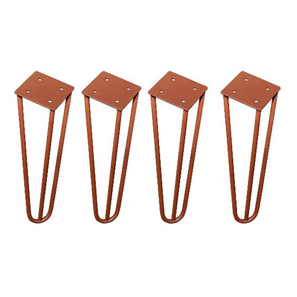 Kit 04 Pés Hairpin Legs 15 cm Bronze De Ferro Para Banquetas, Puffs, móveis