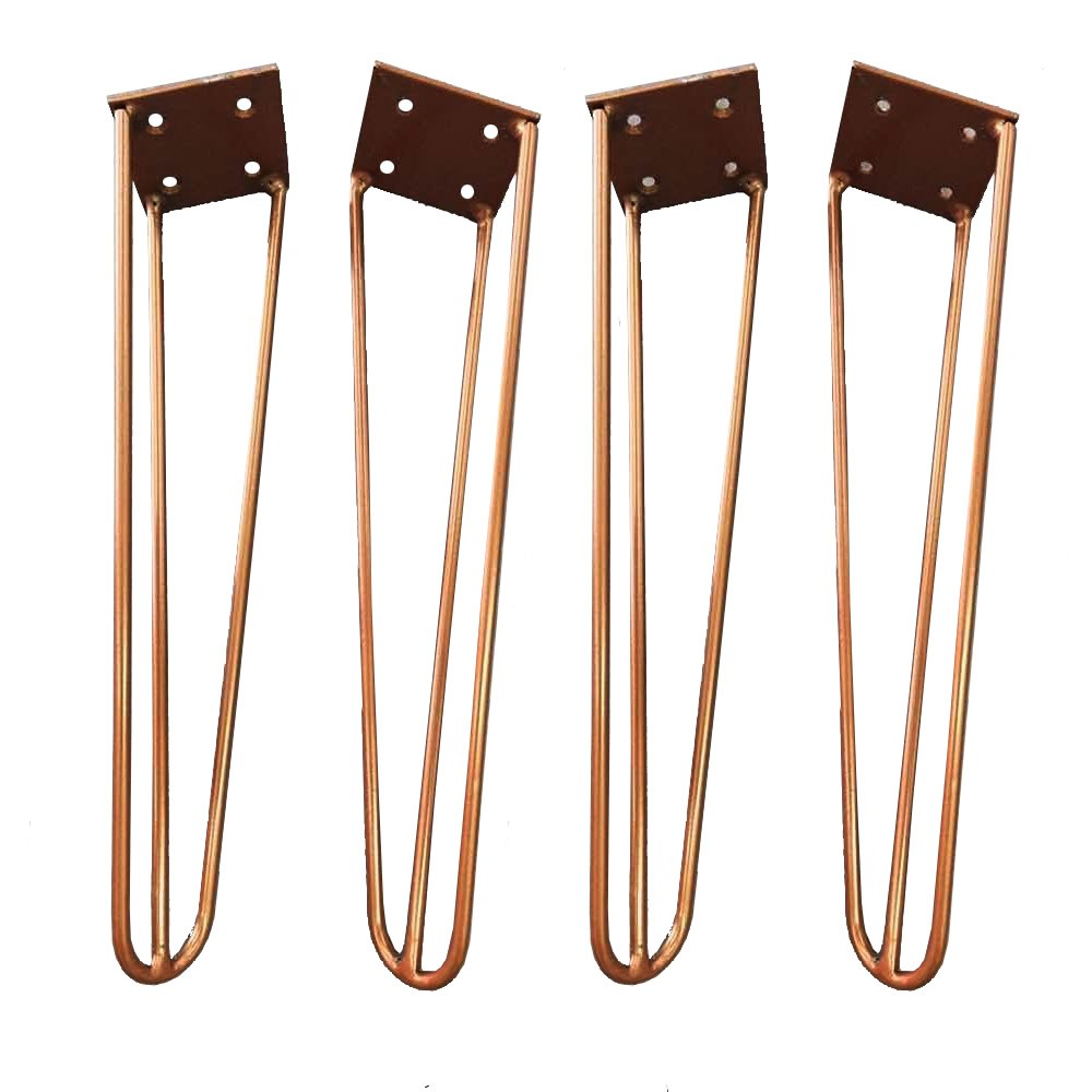 Kit 04 Pés Hairpin Legs 20 cm Bronze De Ferro Para Banquetas, Puffs, móveis