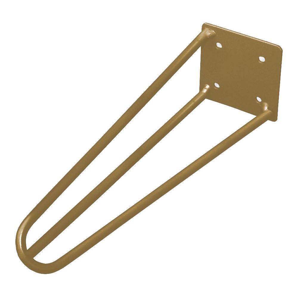 Kit 04 Pés Hairpin Legs 20 cm Dourado De Ferro Para Banquetas, Puffs, móveis