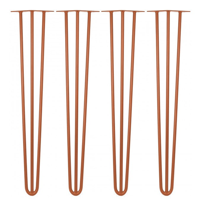 Kit 04 Pés Hairpin Legs 40 cm Bronze De Ferro Para Banquetas, Puffs, móveis