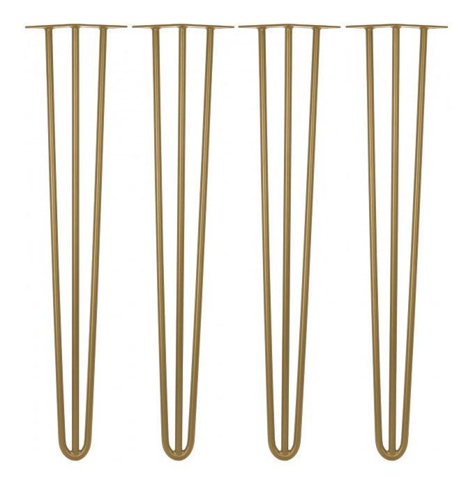 Kit 04 Pés Hairpin Legs 50 cm Dourado De Ferro Para Banquetas, Puffs, móveis