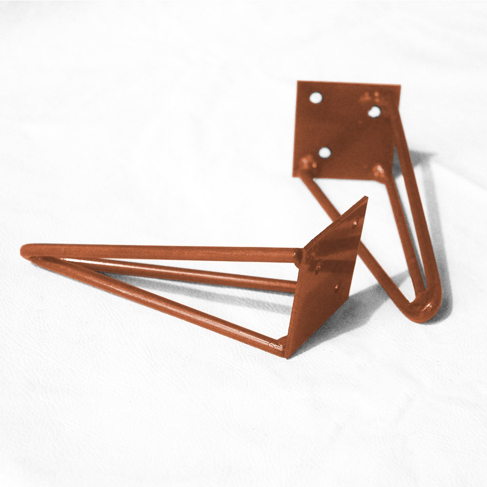 Kit 04 Pés Hairpin Legs 60 cm Bronze De Ferro Para Banquetas, Puffs, móveis