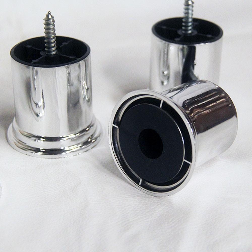 Kit 04 Und Pés Modelo Imperial 6 cm em Pvc Tubular Cromado Para Recamier, Divã, Sofá, Poltrona