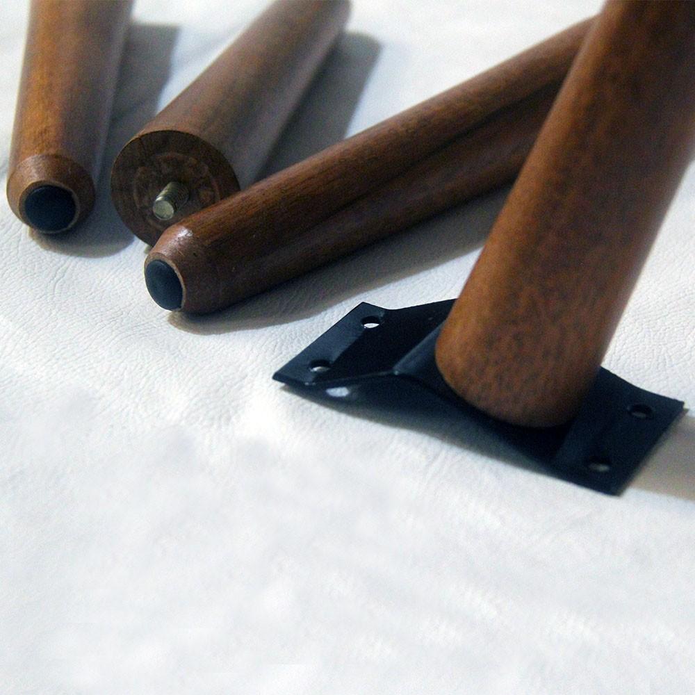 Kit 04 Und Pés Palito 15 cm Castanho em Madeira de Eucalipto Para Poltrona, puff, banqueta móveis em geral