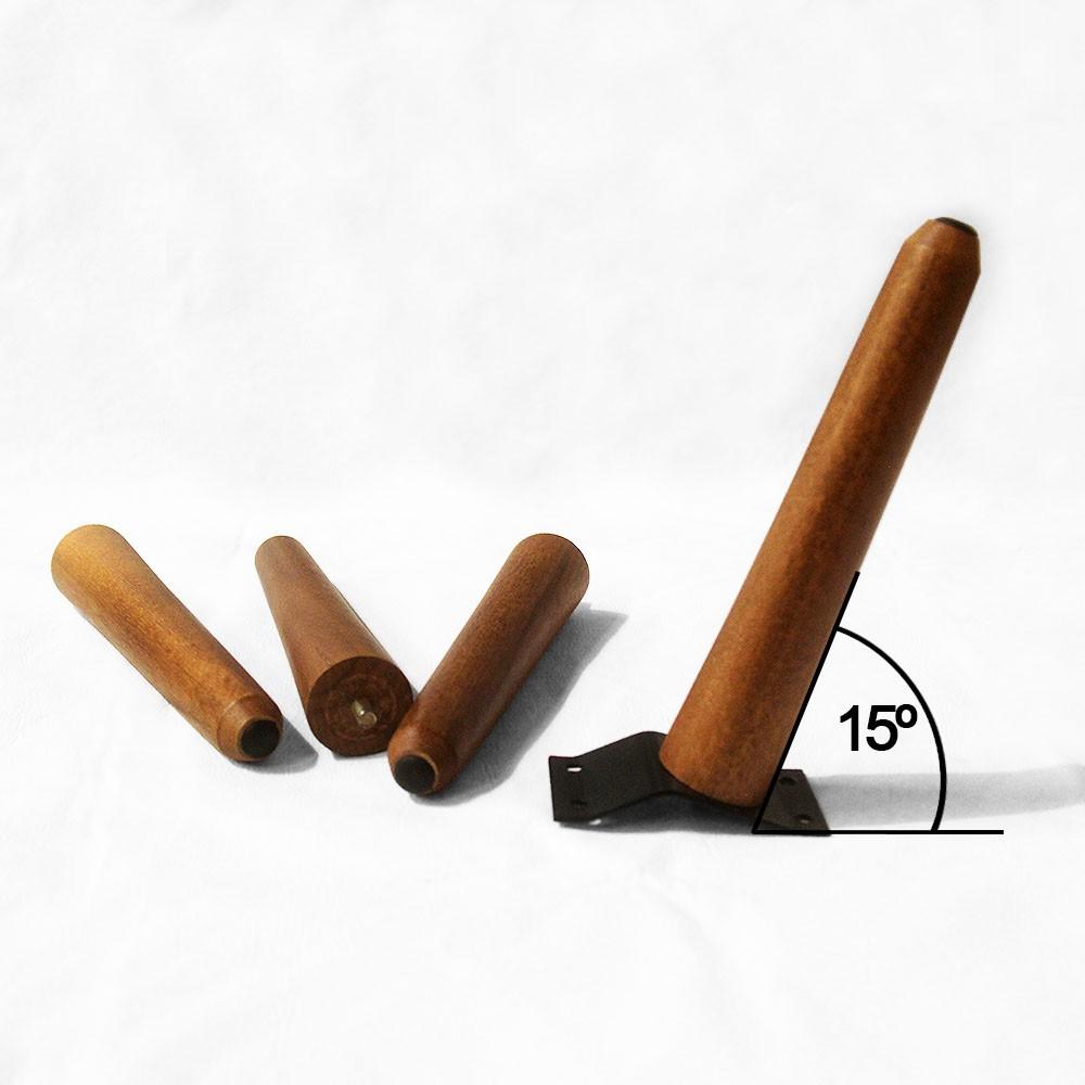 Kit 04 Und Pés Palito 20 cm Castanho em Madeira de Eucalipto Para Poltrona, puff, banqueta móveis em geral