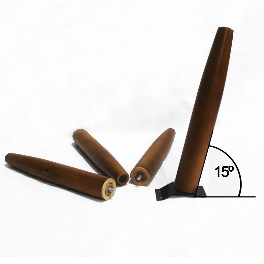 Kit 04 Und Pés Palito 30 cm Castanho em Madeira de Eucalipto Para Poltrona, puff, banqueta móveis em geral