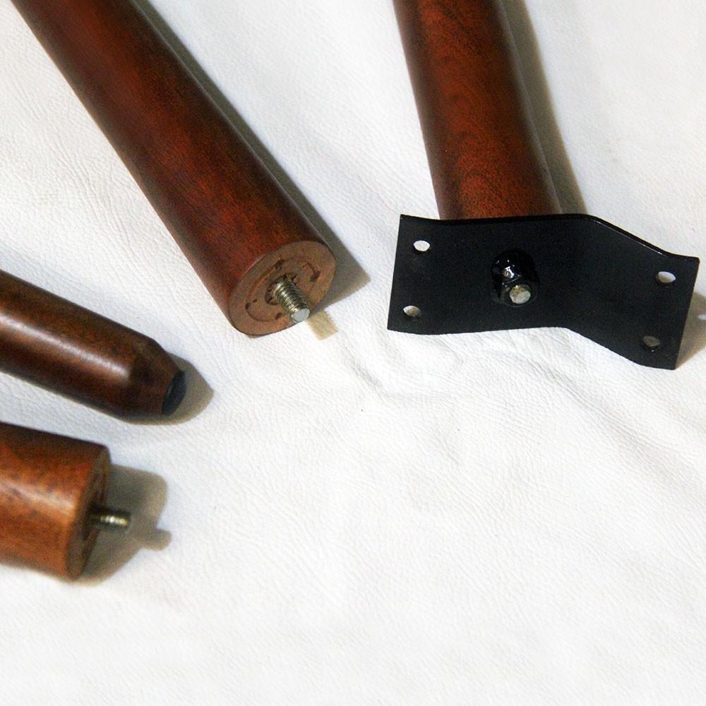 Kit 04 Und Pés Palito 35 cm Castanho em Madeira de Eucalipto Para Poltrona, puff, banqueta móveis em geral