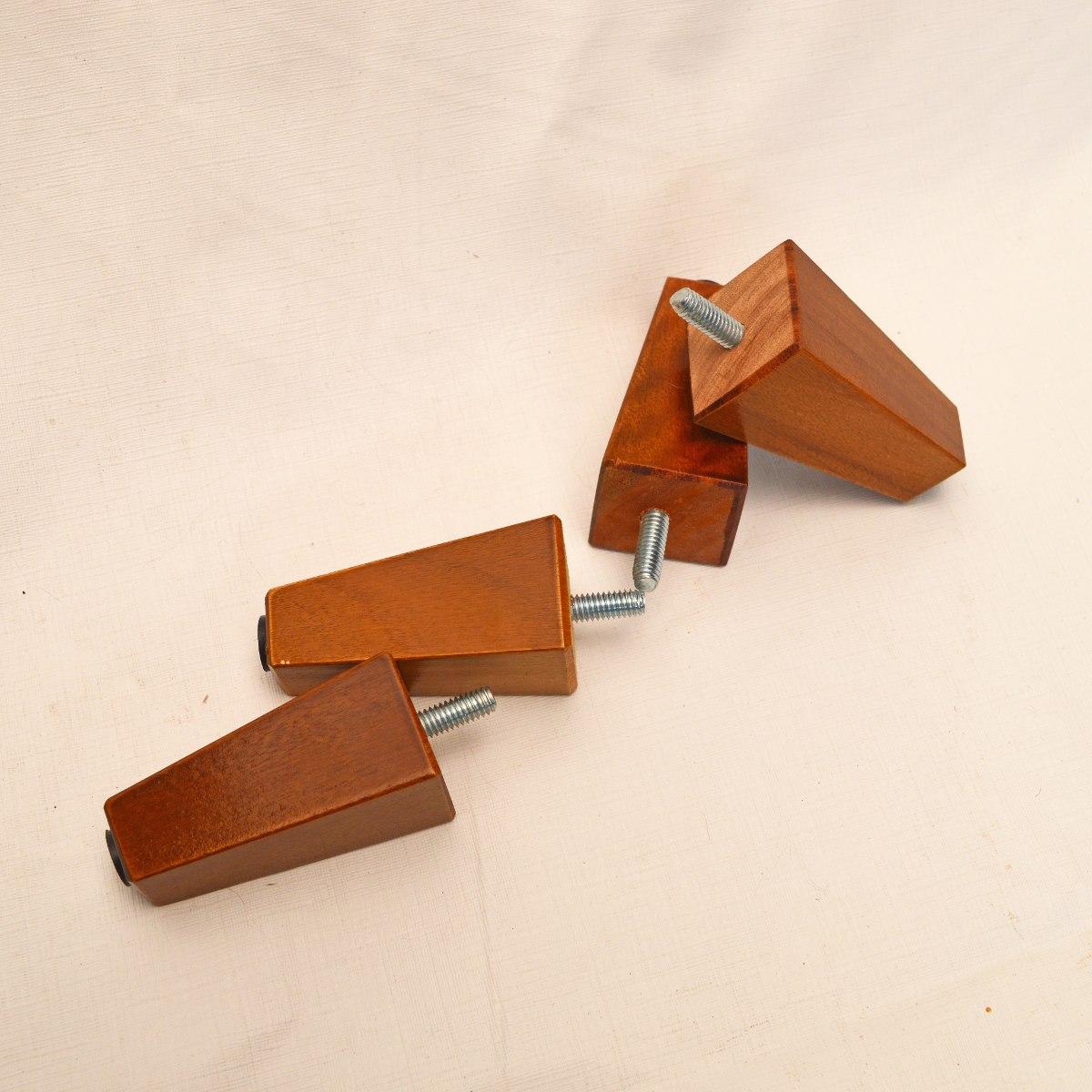 Kit 08 Und Pés Modelo Trapézio 13 cm Castanho em Madeira de Eucalipto Para Recamier, Divã, Sofá, Poltrona