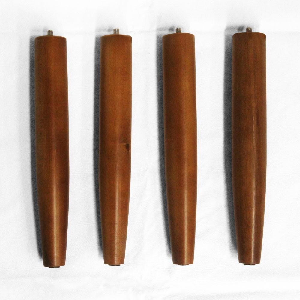 Kit 08 Und Pés Palito 30 cm Castanho em Madeira de Eucalipto Para Poltrona, puff, banqueta móveis em geral